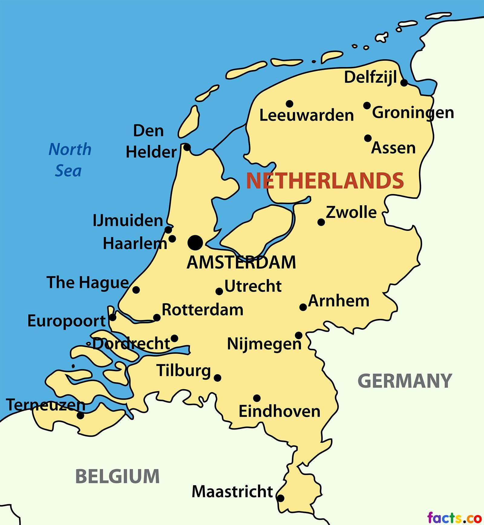 kart over byer i europa Nederland city map   Kart over Nederland byer (Vest Europa   Europa) kart over byer i europa