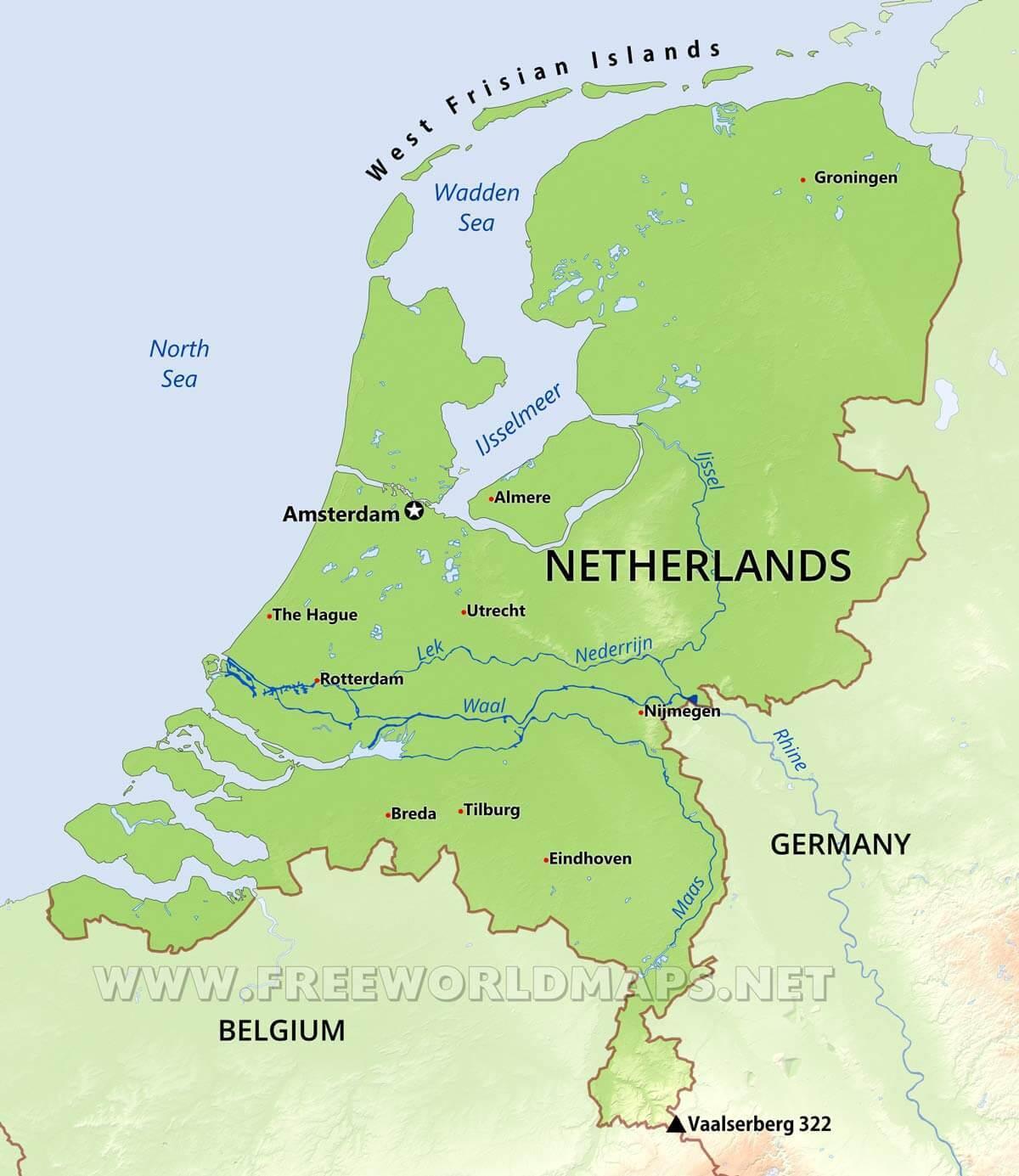 nederland kart Nederland fysisk kart   Fysisk kart over Nederland (Vest Europa  nederland kart