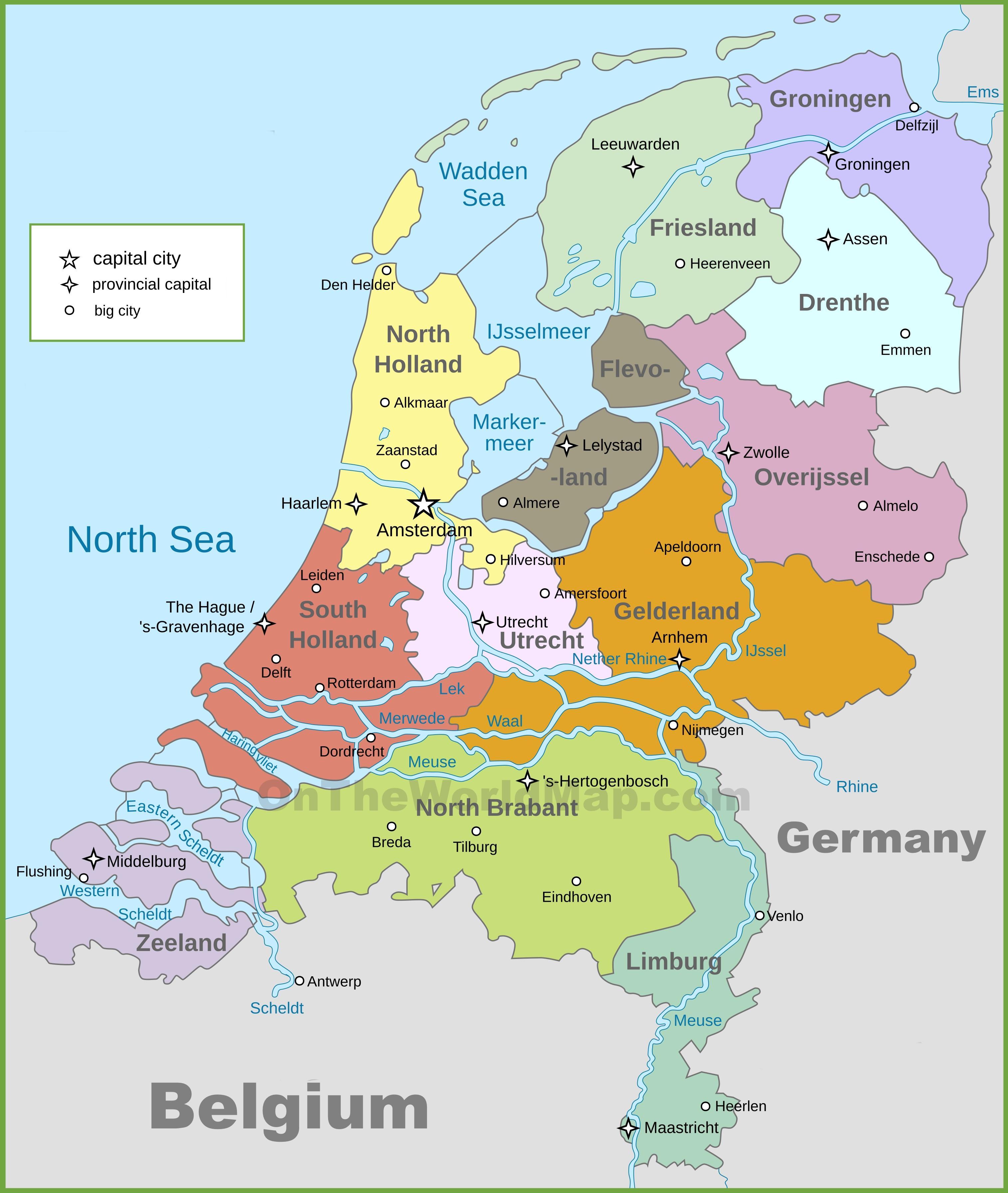 kart over vest europa Politisk kart over Holland   Politiske kartet av Nederland (Vest  kart over vest europa