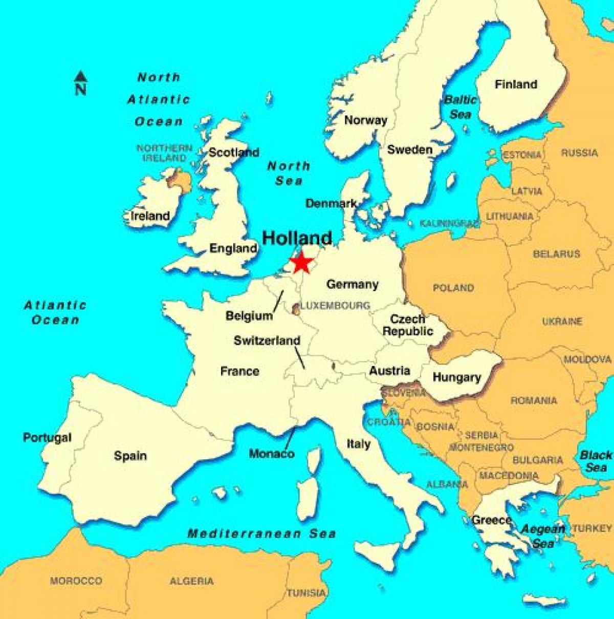 Holland Kart Europa Kartet Av Holland Europa Vest Europa Europa