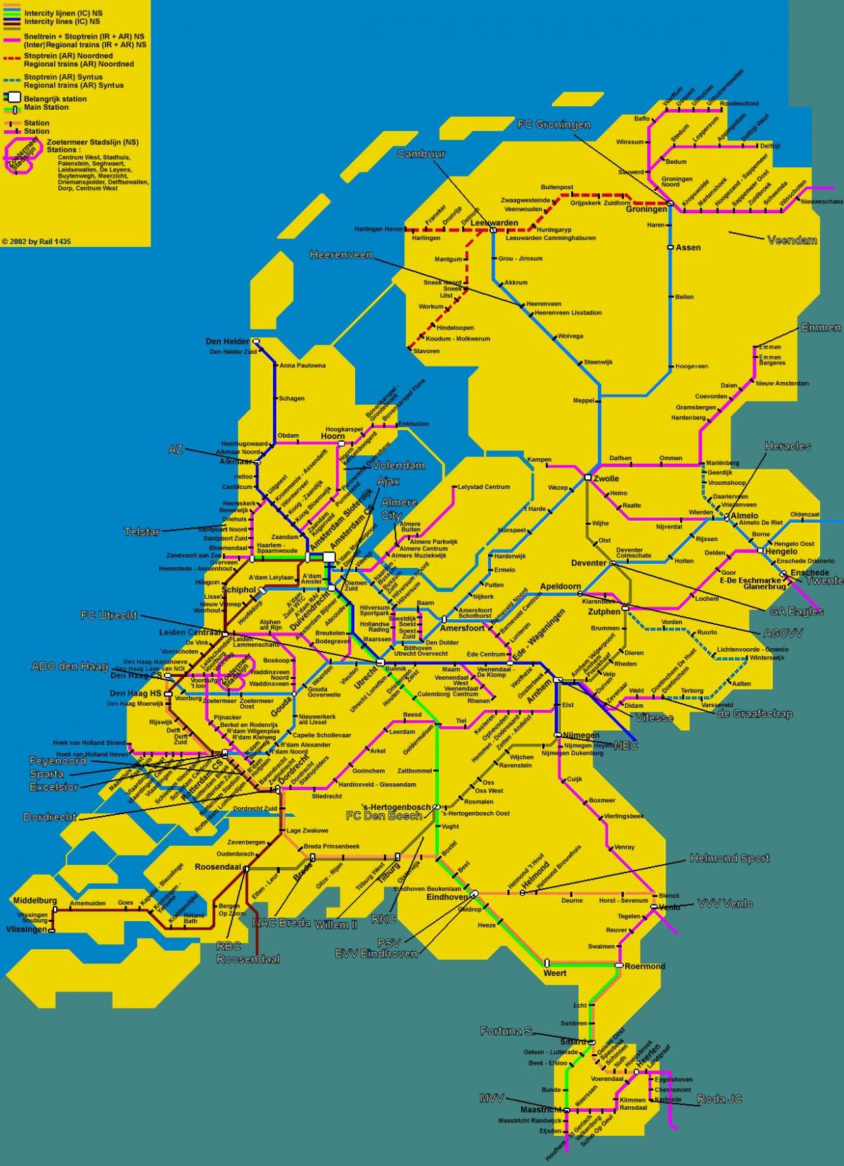 tog kart over Holland