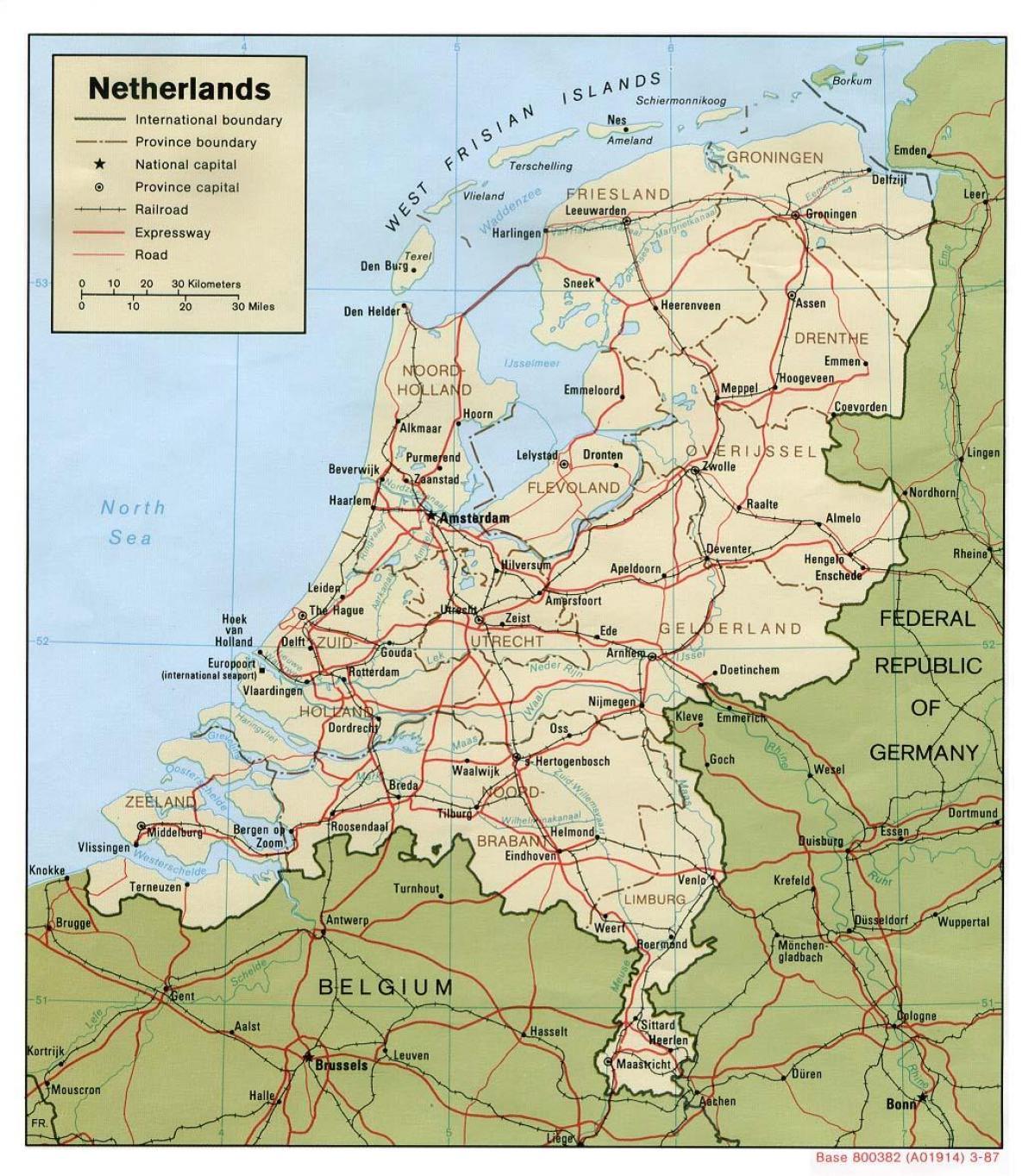 Kart Over Nederland Nederland I Kartet Vest Europa Europa