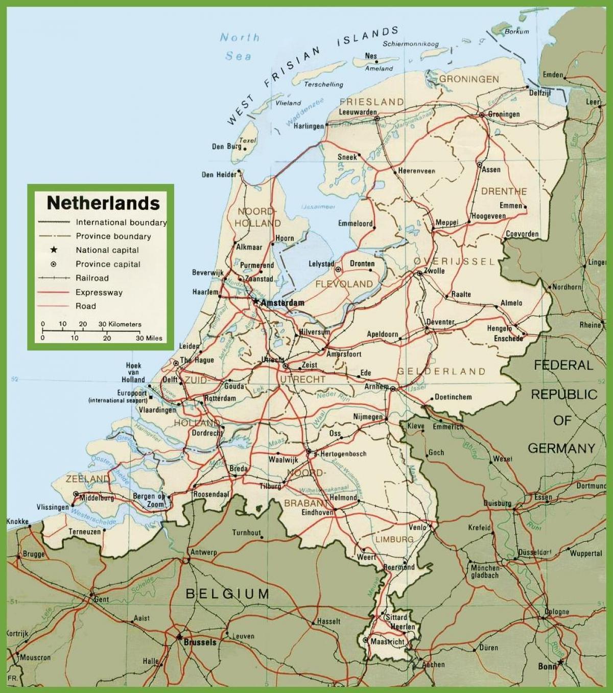 Nederland Veier Kart Road Kart Over Nederland Vest Europa Europa